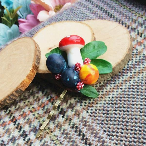 Handmade Hair Accessories Hair Clip Woodland Brooch Fairy Tale Mushroom Blueberry